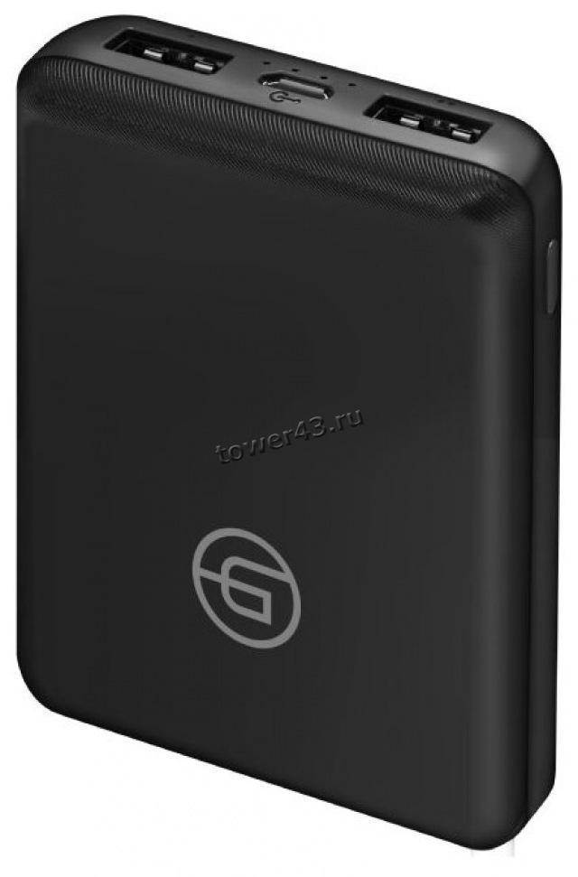 Внешний мобильный аккумулятор Ginzzu GB-3913B LiPol 10000mAh/5V/2.1A, компактный, черный