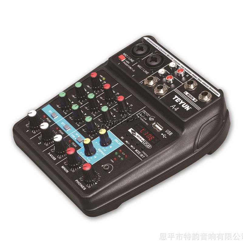 Микшерная консоль FREEBOSS A4 4-канальная (2моно+1стерео), bluetooth, USB, эффект задержка и повтор