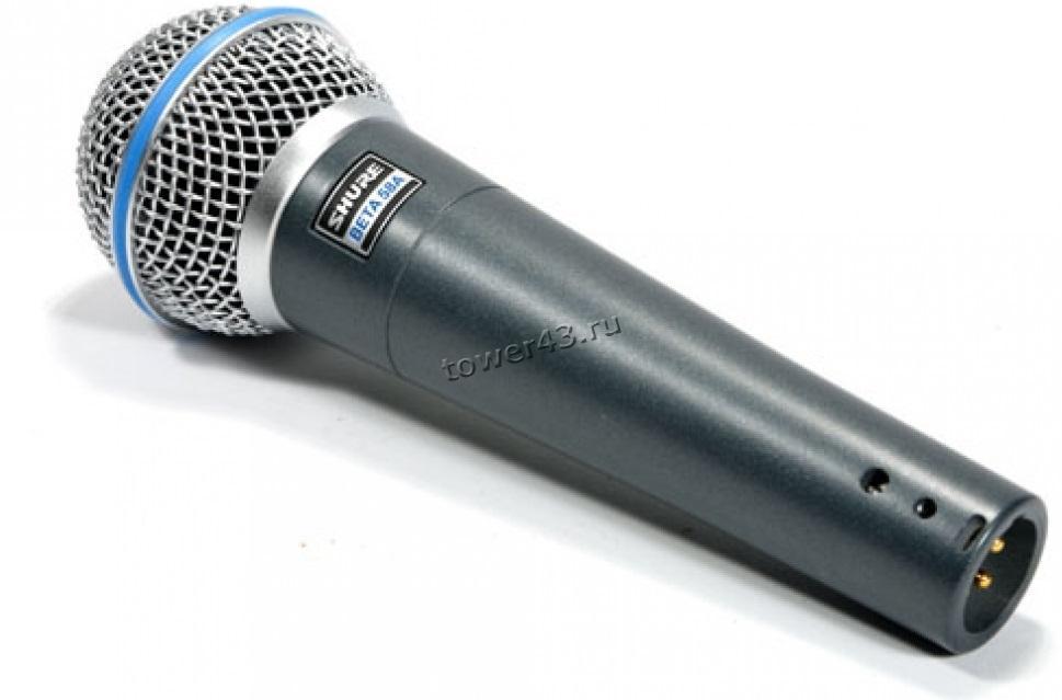 Микрофон BETA58A динамический профессиональный (кардиоида) проводной, вокальный, шнур XLR -> джек6.3