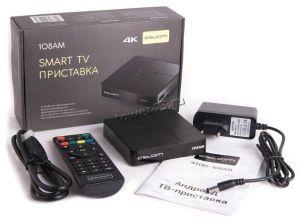 Смарт ТВ приставка ATOM 108AM 4K UltraHD, Wi-Fi, Bluetooth, RJ45 microSD, андр7.1, 4яд, 2ГбОЗУ, 16Гб Купить