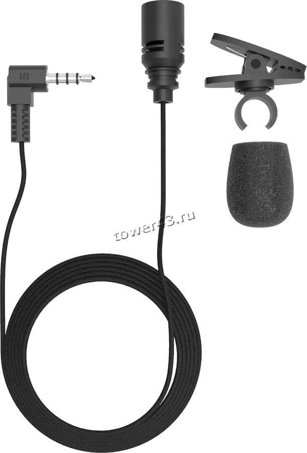 Микрофон Ritmix  RCM-102 черный, клипса, 4 пиновый разъем
