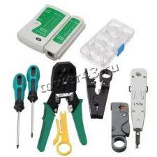 Набор иструментов для работы с сетевыми кабелями RJ45 RJ12 (12 предметов) в сумке Цена