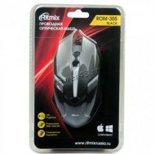Мышь Ritmix ROM-305 игровая 1200dpi, USB черная, подсветка, 1.3м Купить