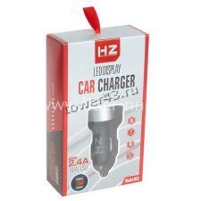 Автомобильное зарядное устройство 2 выхода USB 2.1/2.4A с дисплеем  HZ-HC1/HZ-HC6, черный Retail Цена