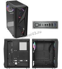 Корпус MidiTower 1STPLAYER FIREROSE F4-3R1 ATX ,2xU2, 1xU3, T.Glass, 3xLED Fan 120mm, без БП, черный Цена