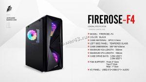 Корпус MidiTower 1STPLAYER FIREROSE F4-3R1 ATX ,2xU2, 1xU3, T.Glass, 3xLED Fan 120mm, без БП, черный Цены