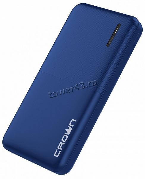 Внешний мобильный аккумулятор CROWN CMPB-604, Li-pol, 2хUSB, 10000mAh, 2A, синий