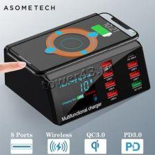 Сетевая зарядная станция ASOMETECH 220В -> 6xUSB +1xUSB QC3 + 1xUSB PD3 +Wireless, 100W, дисплей Купить
