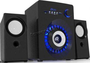 Колонки RITMIX SP-2165BTH 2.1 16W=10+3x3, блютуз, подсветка, MP3плеер, FM-радио, MicroSD Купить