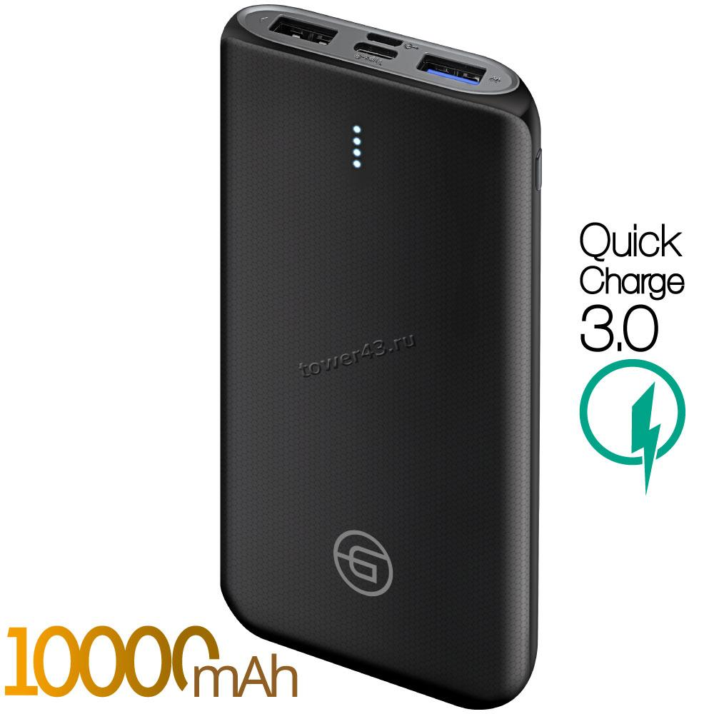 Внешний мобильный аккумулятор Ginzzu GB-3914B LiPol 10000mAh /5V /3A /2USB /Type-C /PD+QC3, черный