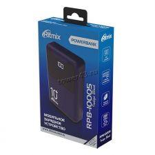 Внешний мобильный аккумулятор RITMIX RPB-10005 Indigo Black 10000Mah microUSB+Type C, USB 5В 2.1Аm Цена