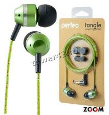Наушники Perfeo TANGLE вкладыши, металл, зеленые, L-разъем Купить