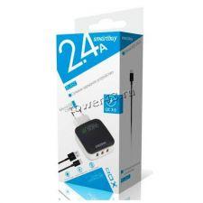Сетевое зарядное устройство 220В -> microUSB SmartBuy SBP-110 BLAST, 2.4А чер-бел, 3хUSB, QC3.0, 35W Цена