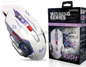 Мышь Smartbuy RUSH Avatar SBM-724G, 6 кнопок, 1200 /1600 /2400 /3200dpi USB с подсветкой, белая Купить