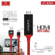 Кабель Type-C  -> HDMI 2м, для вывода изображения на ТВ (Earldom ET-WS8C) Купить