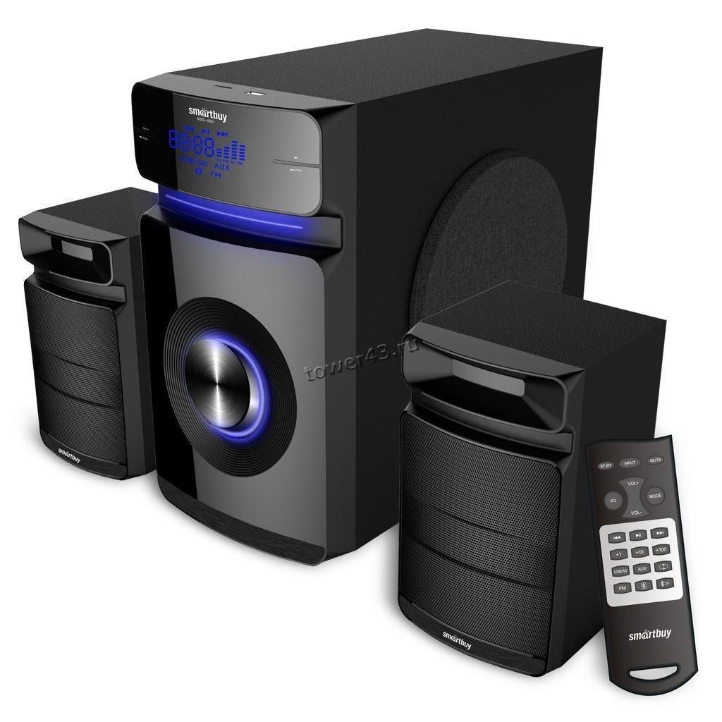 Колонки SmartBuy MAJESTY (караоке) BT5.0 /FM /MP3 /SD /USB, 60W дерево, пультДУ, фазоинвертор, черн.