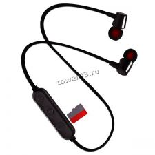 Наушники+микрофон вкладыши Perfeo BELLS блютуз, microSD +MP3 плеер, черные Купить