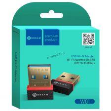 Сетевая карта беспроводная DREAM W01 USB 150Мбит/с, 20dBi, WiFi, мини, черный Цена