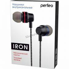 Наушники Perfeo IRON металл, вкладыши, тканевый кабель черные, L-разъем Цена