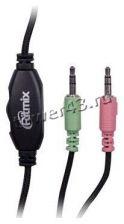 Наушники+микрофон Ritmix RH-555M игровые  black закрытого типа, регулятор громкости Цены