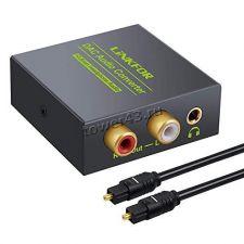 Переходник-конвертер аудиосигнала цифровой в аналоговый Toslink+Coaxial -> RCA L/R+3.5джек +2 кабеля Купить