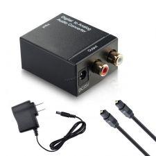 Переходник-конвертер аудиосигнала цифровой в аналоговый Toslink+Coaxial -> RCA L/R Купить