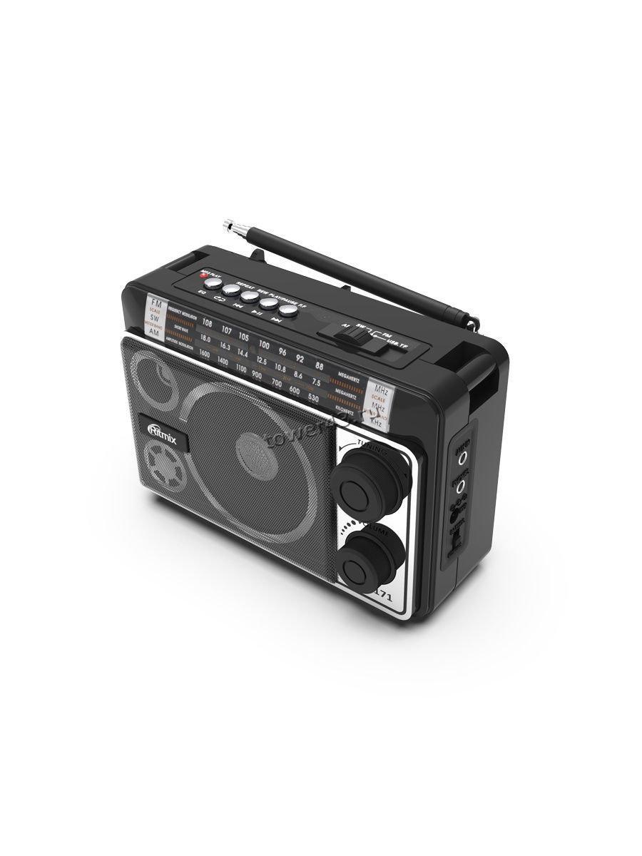 Радиоприемник RITMIX RPR-171 СВ, КВ, УКВ, питание от сети, USB, microSD, AUX черный