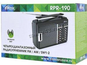 Радиоприемник RITMIX RPR-190, 4 диапазона, питание от сети или батареек, черный Цены