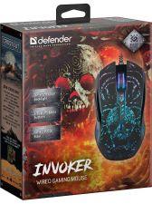 Мышь DEFENDER Invoker GM-947 игровая, RGR подсветка 6кн. (чёрный) 800-3200dpi Цена