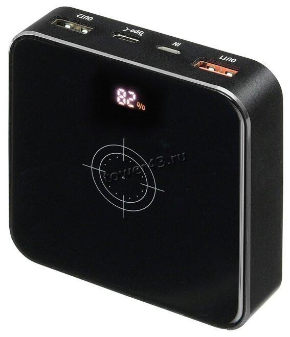 Внешний мобильный аккумулятор BURO HG8000-WCH QC 3.0 с беспроводной зарядкой, 8000мAч, черный