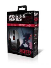 Мышь Smartbuy RUSH Ironclad беспроводная. 6 кнопок, 800 /1200 /1600dpi, 2ААА, серебристо-черная Цена