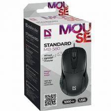 Мышь Defender Standart MB-580 черная универсальная, USB, 1000dpi, шнур 1.8м Купить