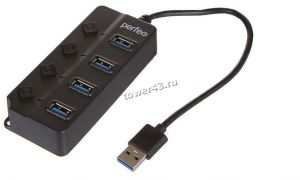 Контроллер внешний USB3.0 Perfeo USB-HUB 4 Port, 3.0 (PF-H032 Black) чёрный Купить