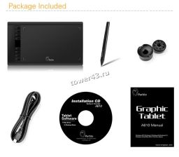 """Графический планшет Parblo A610 (Ugee M708) для рисования 11.5"""" +перчатка и зап. наконечники, черный Купить"""