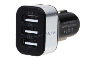 Автомобильное зарядное устройство 3 выхода USB Perfeo (3.1А) 1A, 1А, 2,1А Купить
