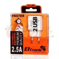 Сетевое зарядное устройство 220В -> 2xUSB 2.5А Eltronic FASTER Купить
