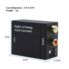 Переходник-конвертер аудиосигнала цифровой в аналоговый optical Toslink/Coaxial -> RCA L/R +2 кабеля Купить