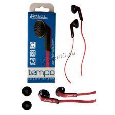 Наушники PARTNER Tempo, пластик, черно-красные, вкладыши Купить