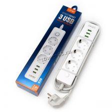 Сетевой фильтр LDINO SE3330 1,8м 3 розетки, 3хUSB портов (3.1А) белый Купить