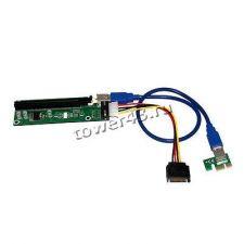 Райзер (для любых видеокарт на PCE-E), 60см, USB3.0, PCI-Ex1 -> PCI-Ex16 +доп.питание Цены