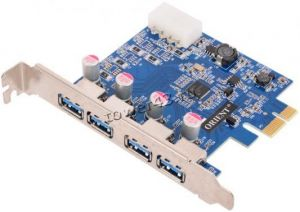 Контроллер PCI-E -> USB3.0 (4 Port, USB 3,0 Hub, PCI-E card) oem Купить