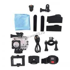 Экшн-видеокамера Smarterra W6 4Kх30кадров/сек, 170°, WiFi, HDMI, USB, крепеж, пульт, серебристая Цена