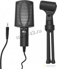 Микрофон Ritmix RDM-125 на треноге, черный, с регулируемым углом наклона, кнопка выключения Купить