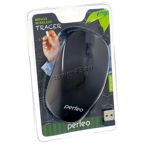 Мышь Perfeo Tracer беспроводная, до 10м, 800/1200dpi, черная (без батареек)